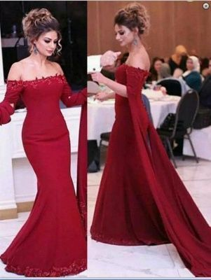 Fashion Red Mermaid Long Prom Dress, Appliques Evening Dress