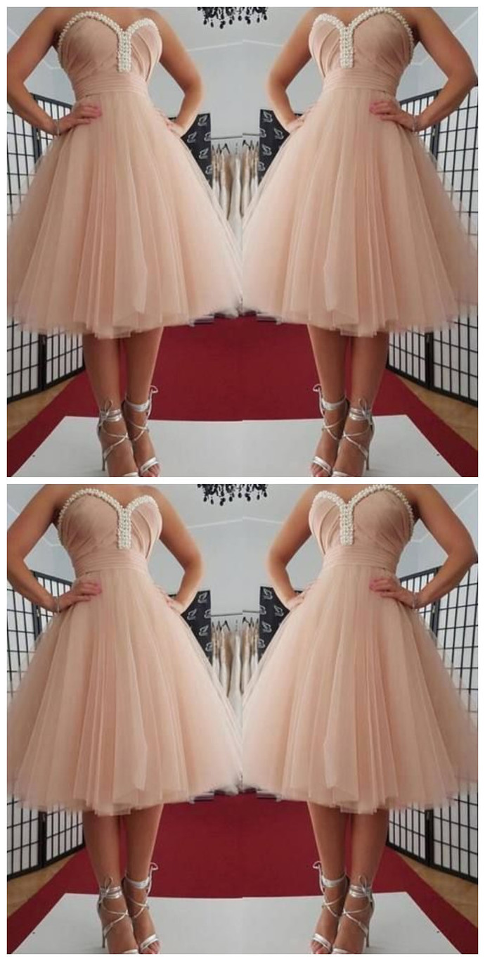 Sweetheart neckline Tulle Pink Short Homecoming Dress