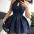 Cute Navy Blue Lace Short Prom Dress, Homecoming Dress