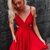 Cute A Line V Neck Red Short Homecoming Party Dress