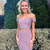 Stylish Two Piece Off the Shoulder LIght Purple Short Homecoming Dresses