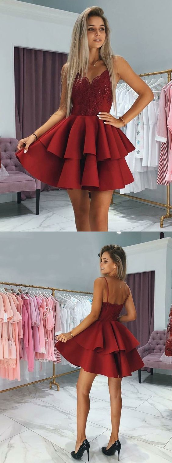 Spaghetti Straps A-Line Homecoming Dresses,Short Prom Dresses,Cheap Homecoming