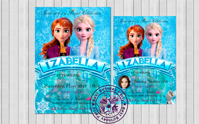 Frozen 2 Birthday Invitation, Frozen 2 Birthday Invitation With Picture, Frozen