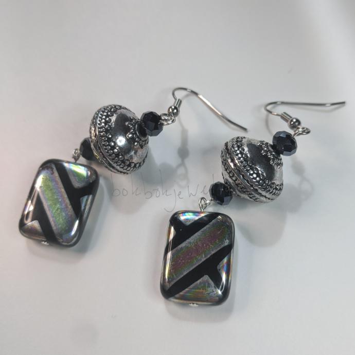 Handmade Glass and Silver Earrings