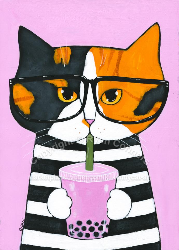 Kitty Loves the Boba Tea Original Nerd Cat Folk Art Painting