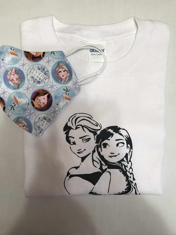 T-SHIRT and FACE MASK, Matching Combination, Disney Frozen Characters, 100%