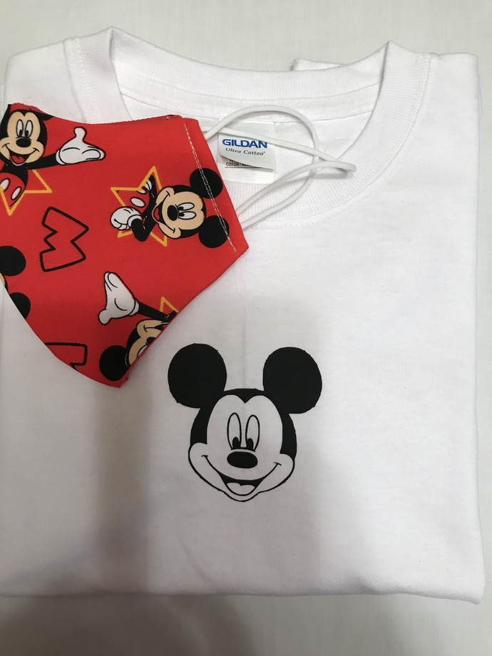 T-SHIRT and FACE MASK, Matching Combination, Disney Mickie Mouse, 100% Cotton