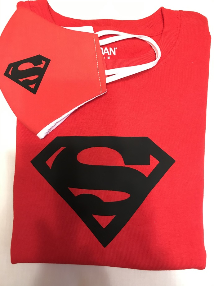T-SHIRT and FACE MASK, Matching Combination, Superman, 100% Cotton