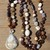 The Inspiration Necklace Long Beaded Necklace in Neutral Browns with Pendant by