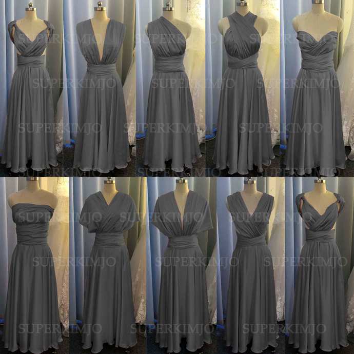gray bridesmaid dresses long infinite satin cheap convertible custom wedding