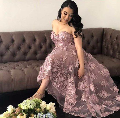 dusty pink 3d flower prom dresses lace applique sweetheart neck elegant cheap