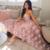 dusty pink 3d flower prom dresses lace applique sweetheart neck elegant cheap