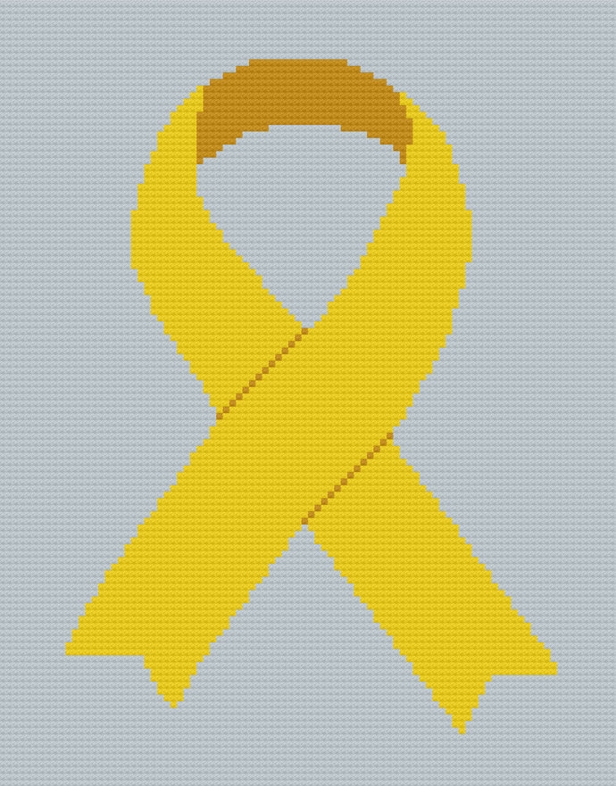 Gold Ribbon Awareness C2C Crochet Pattern Pdf Graph Color Block Instructions