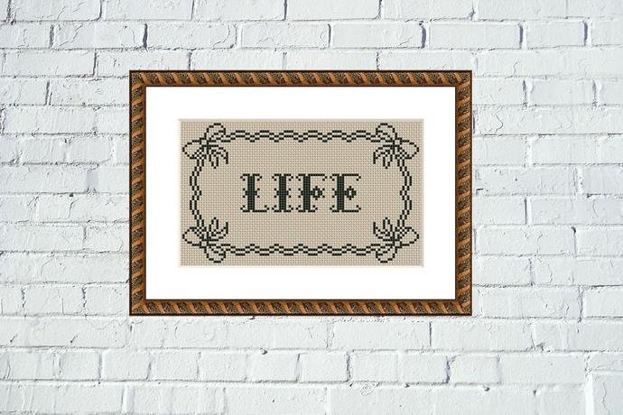 Life vintage lettering cross stitch pattern