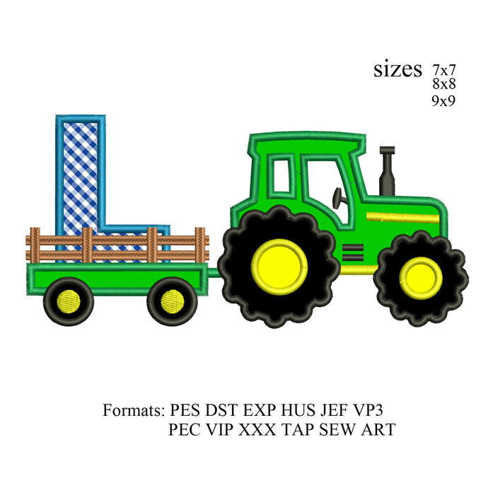 tractor pulling L embroidery design,tractor applique embroidery machine,birthday