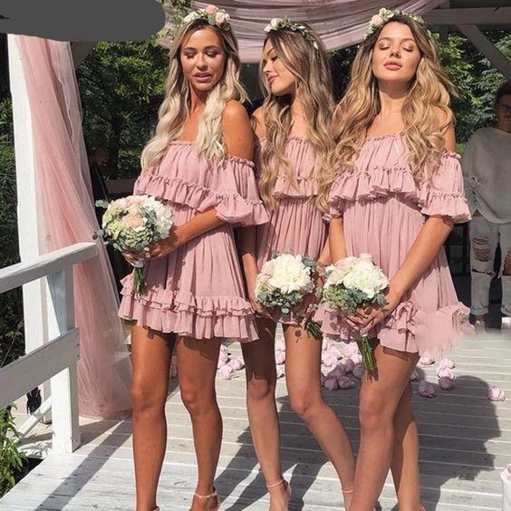 beach wedding party dresses vestido de dama de honor dusty pink cheap short