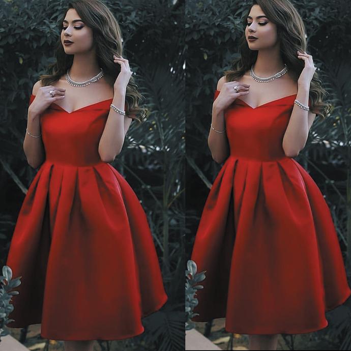 red prom dresses short satin off the shoulder knee length cheap graduation