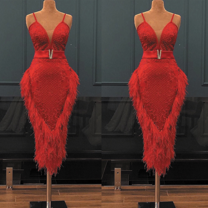 tea length red evening dresses 2020 spaghetti strap Lace Applique beaded feather