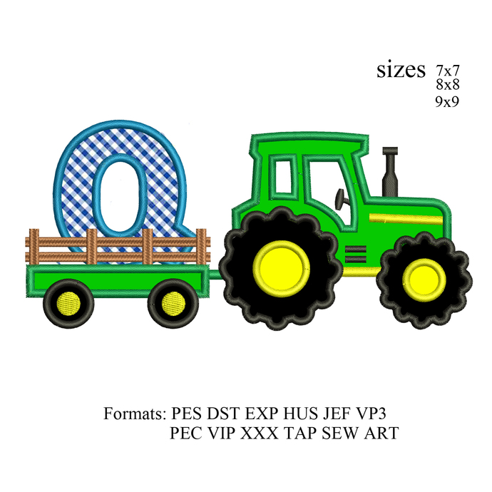 tractor pulling Q embroidery design,tractor applique embroidery machine,birthday