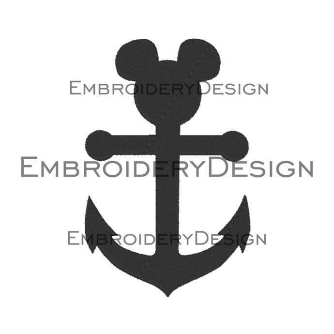 Anchor Mickey Mouse head disney Embroidery Machine Designs Love Heart Instant