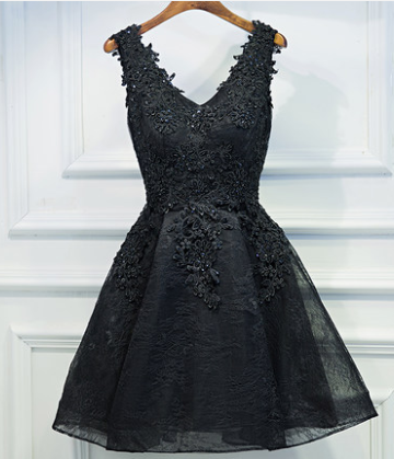 Sexy V-Neck Appliques A-Line Homecoming Dresses,Short Prom Dresses,Cheap