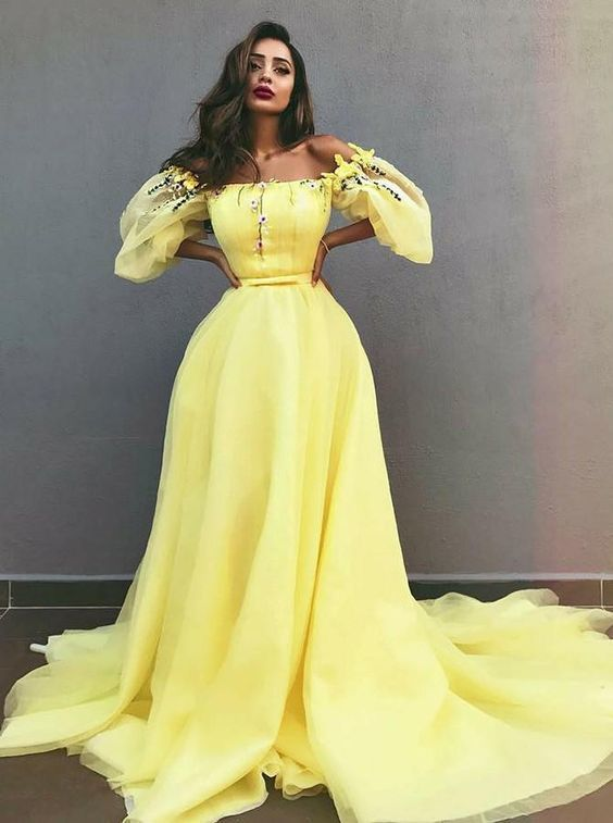 yellow prom dresses Lace Applique boat neck long sleeve elegant cheap tulle prom