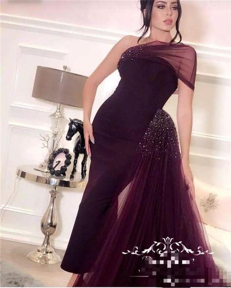detachable skirt evening dresses long arabic beaded one shoulder burgundy