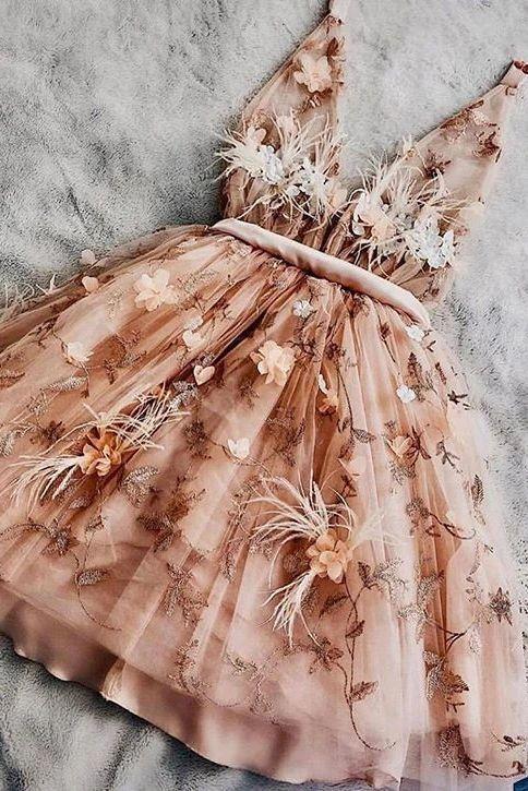 Charming Short Sweet 16 Dress, A-line V-neck Sleeveless Homecoming Dress