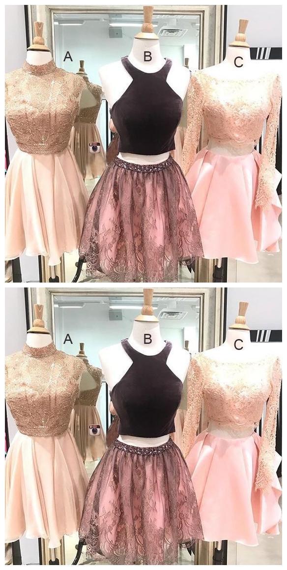 Mismatched homecoming dresses,Blush pink homecoming dresses, Two piece