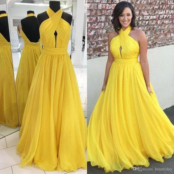 yellow prom dresses long chiffon cheap halter a line elegant prom gowns vestidos