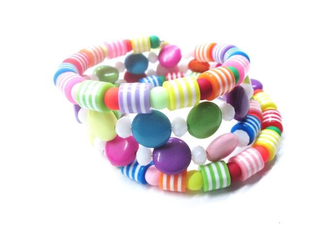 Multi-color summer fun wrap bracelet with 4 wraps, memory wire bracelet in