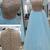 Light blue organza sequins round neck long evening dresses