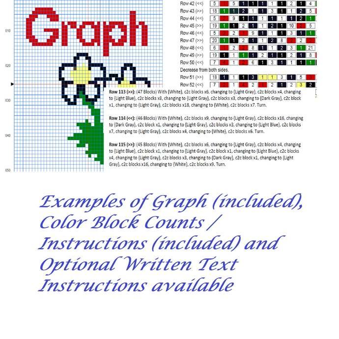 Jewish Dreidel C2C Crochet Pattern PDF Afghan Graph Row by Row Color Block