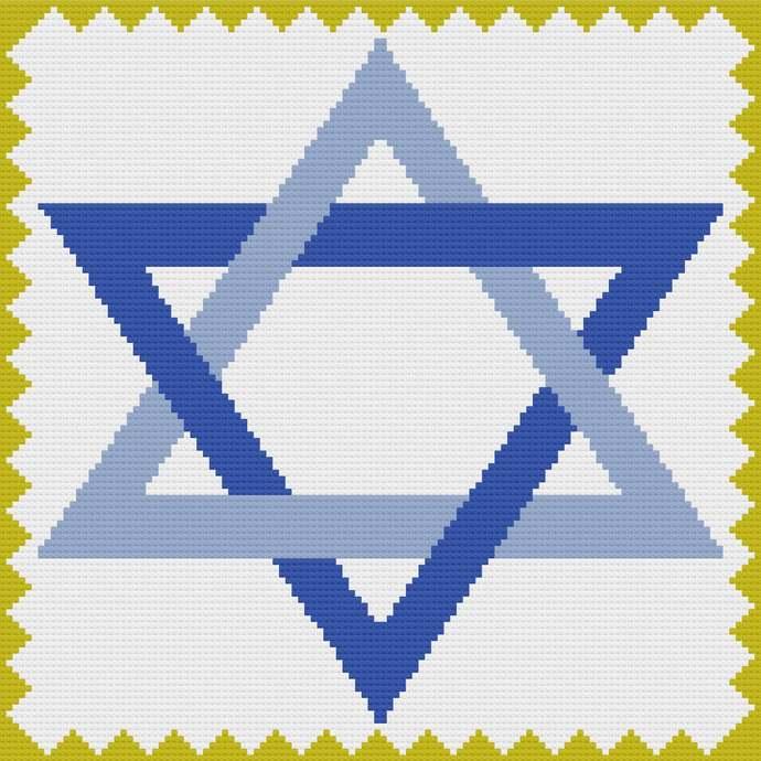 Star of David C2C Crochet Pattern PDF Afghan Graph Row by Row Color Block