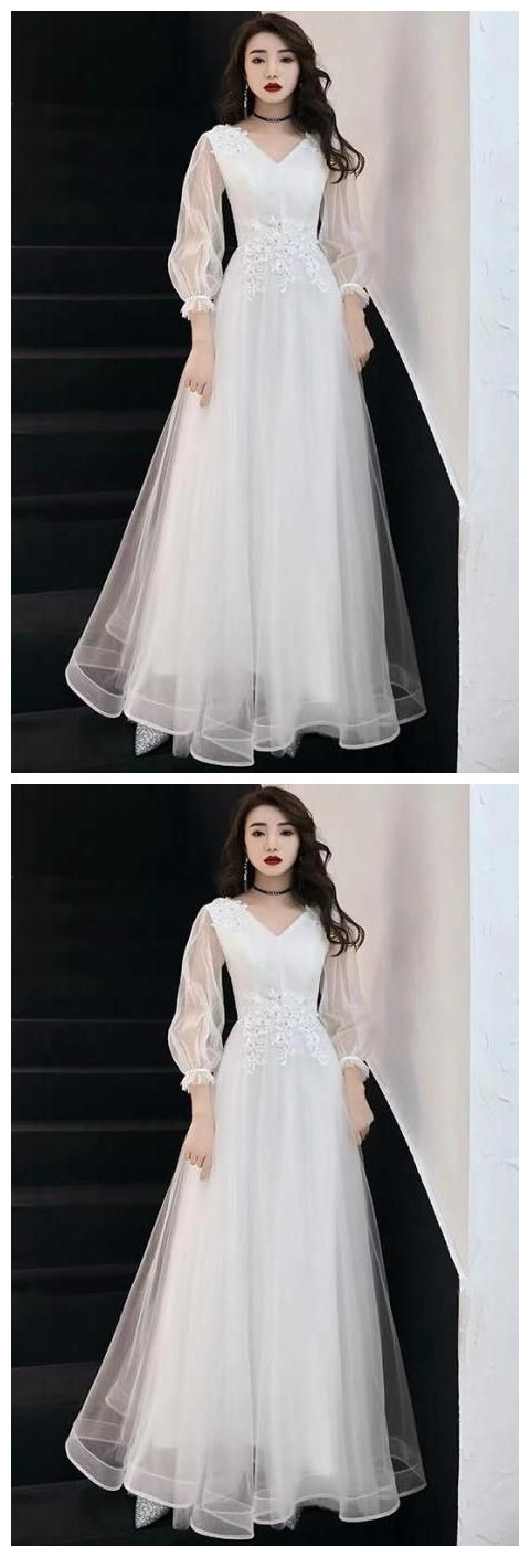 White Prom Dress Long Sleeve Party Dress V-neck Evening Dress Lace Tulle Formal