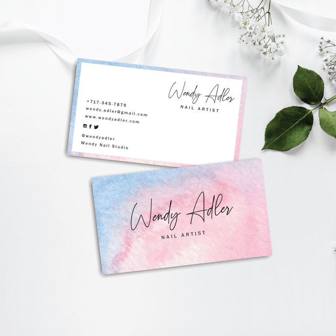 Watercolor business card, Feminine business card, Beauty Business Card BC15