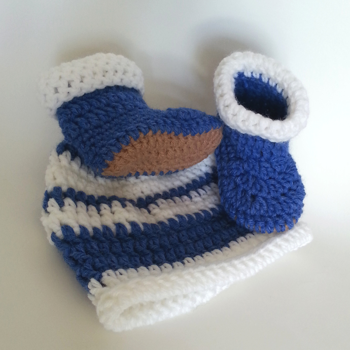 Blue White Striped Hat and Booties set