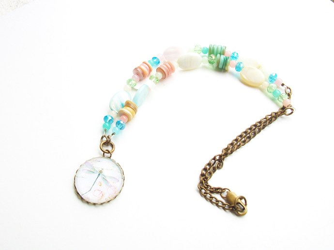 Dragonfly art cameo necklace with pastel shells and glass crystal beads,
