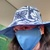 Reversible Sun Hat & Face Mask - Blue Tropic with Solid Blue