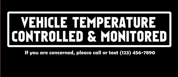 Personalized Vehicle Temperature Controlled & Monitored Decal (Small)
