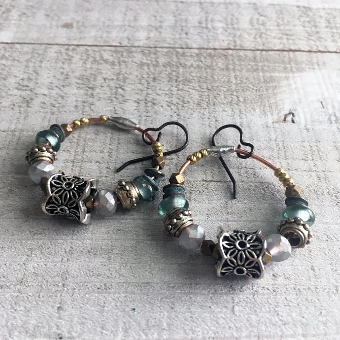Small Tribal Earrings Hoops Dangle Rustic Boho Copper Brass Oxidized metal