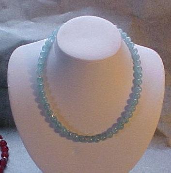 Aquamarine Colored Bead Necklace