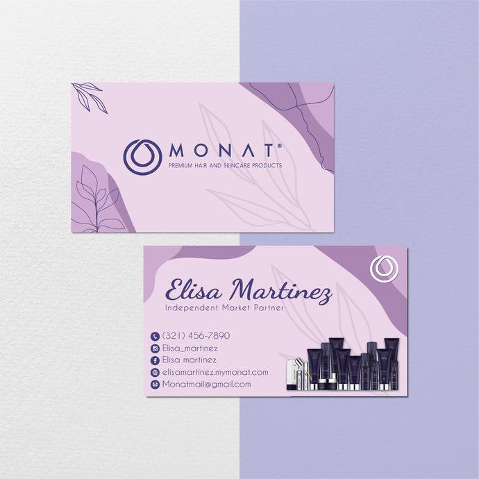 Monat Business Cards, Custom Monat Business Cards, Monat Care Instruction Cards,