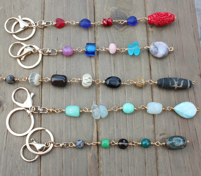 Glam Keyring Keychain Purse Clip #2 Select Color by KnottedUp