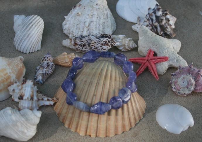 Sky Blue Striped Glass Bead Stretch Bracelet