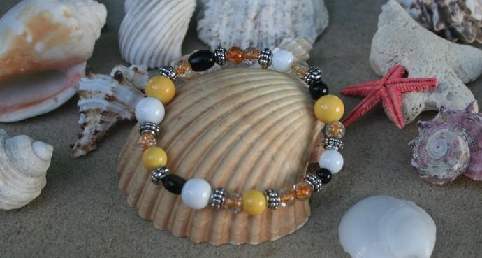 Black and Yellow Stretch Bracelet
