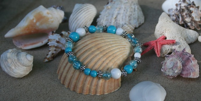 Sky Blue and White Glass Bead Stretch Bracelet