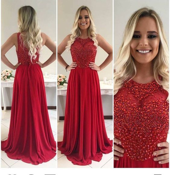 red beaded prom dresses chiffon long sleeveless elegant a line simple new