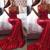 red sparkly evening dresses long mermaid v neck backless sexy formal evening