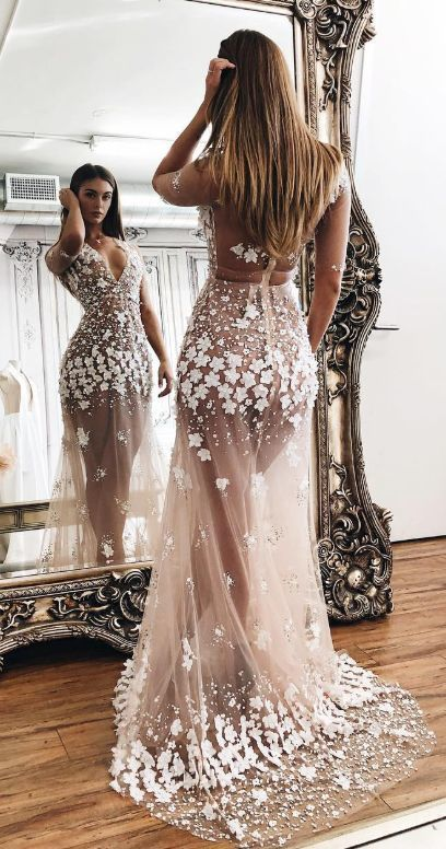 modest champagne evening dresses long sleeve v neck beaded floral mermaid sexy